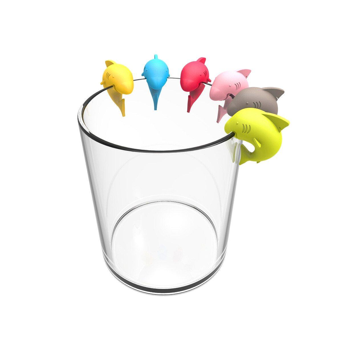 """Glasmarker-set """"Haai"""" - in zes vrolijke kleuren"""