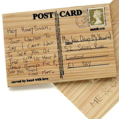 Houten briefkaart om zelf te graveren