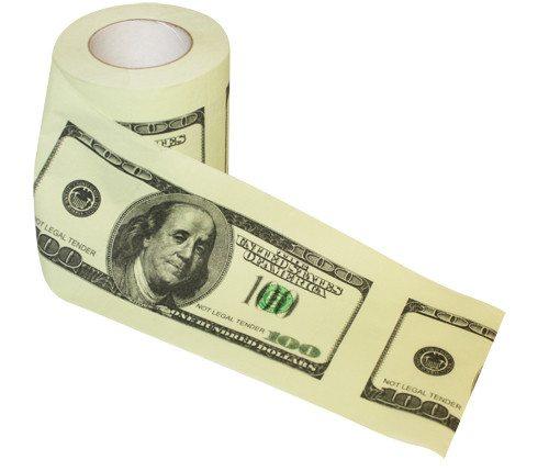 "Toiletpapier ""100 dollarbiljet"""