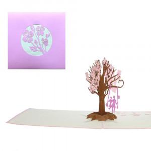 3D-wenskaart met pop-up boomschommel