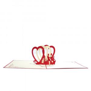 3D-wenskaart met pop-up harten