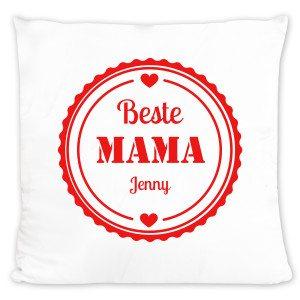"""""""Beste mama"""": personaliseerbaar kussen bedrukken"""