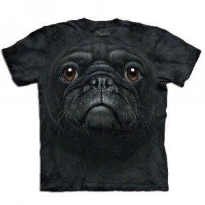Big Face dieren T-shirts – Zwarte mopshond