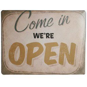 "Blikken retrobord ""Come in we're open"""