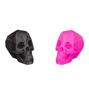 Decoratieve kaars -  doodskop in roze uitvoering