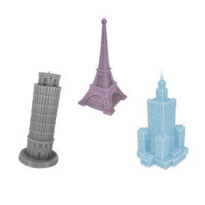 """Decoratieve kaarsen """"Monumentale Gebouwen"""" - Toren van Pisa in lila"""