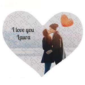 Fotopuzzel in hartvorm (63 stukjes) - leuk voor valentijnsdag