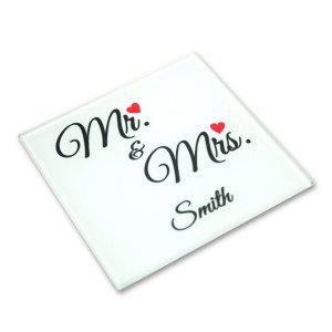 "Glas onderzetter ""Mr. & Mrs."""
