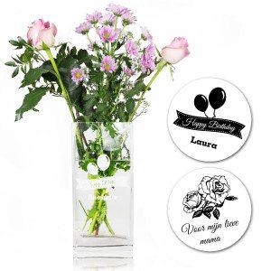 Glazen bloemenvaas met persoonlijke gravure - NL