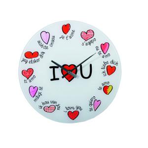 """Glazen klok """"I ♥ U"""""""