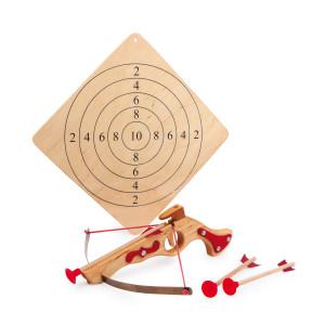 Houten kruisboog met pijlen en schietschijf voor kinderen