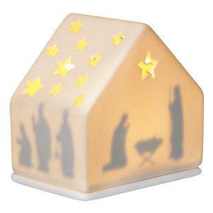 Kersttafereel windlicht met kribbe