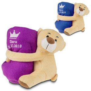 Kraamcadeauset teddybeer en dekentje met naam