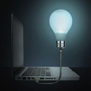 Laptop-gloeilamp voor snelle ideeën
