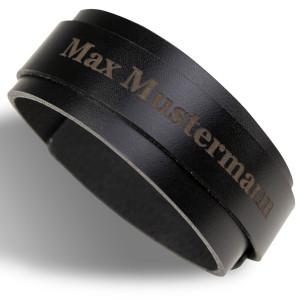 Lederen heren-armband met gravure
