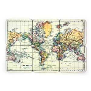 Onderzetters wereldkaart - zesdelige set