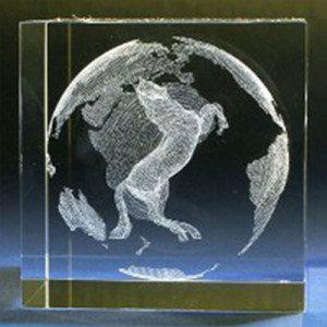 Paard in glazen kubus met gravure