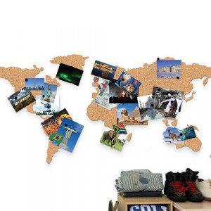 """Prikbord """"Wereldkaart"""" van kurk"""