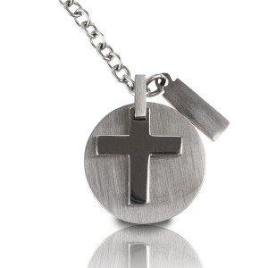 Rubberen halsketting met kruis & gravure