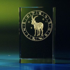 Sterrenbeeld in glazen blok met gravure - Steenbok