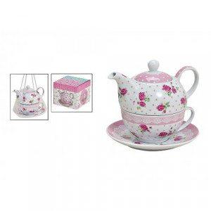 Tea for one: Theepot met kopje ''rozen''