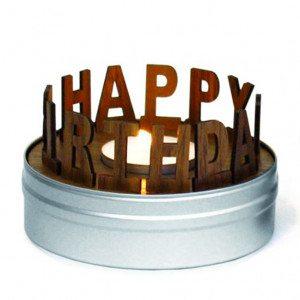 """Theelichthouder """"Happy Birthday"""""""