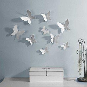 """Wanddecoratie """"Witte vlinders"""""""