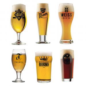 Wereldbier: set met zes glazen